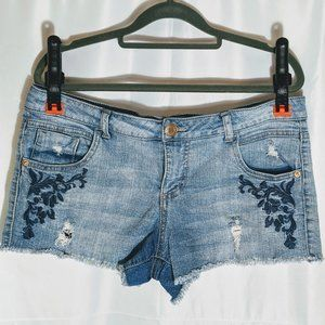 Mossimo Embroidered Distressed Jean Shorts